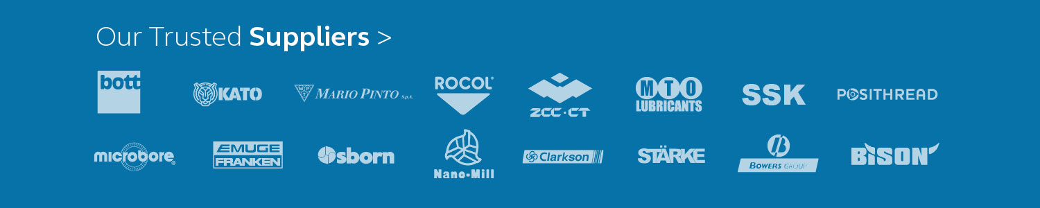 Collage of logos all the brands available to buy from Milo Tools.