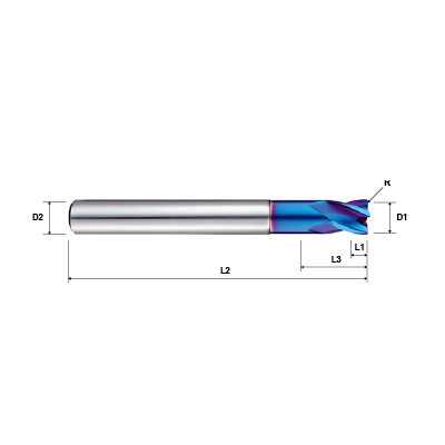 Pulsar Blue 101650 Series 4 Flute Corner Radius Extended Neck Short Length End Mill Technical Drawing.