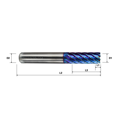 Pulsar Blue 102950 Series 6 & 8 Flute 45 Degree Helix Long Series End Mill Technical Drawing..