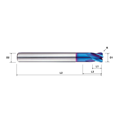 Pulsar Blue 103350 Series 4 Flute Reduced Neck Corner Radius End Mill Technical Drawing..