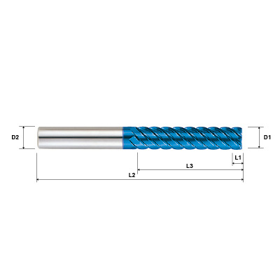 Pulsar Blue 103950 Series 6 & 8 Flute 45 Degree Helix End Mill Technical Drawing..