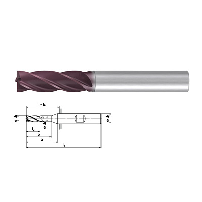 FRANKEN Top-Cut 2526A Series 4 Flute 3xD Extra Long Length End Mill For Steel, Stainless Steel and Exotics Technical Drawing.