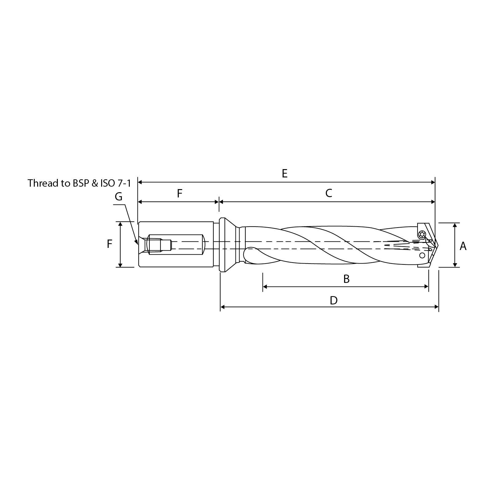 Straight Shank - Intermediate Spiral Flute.