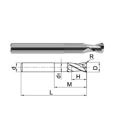 ZCC-CT 2 Flute Corner Radius End Mill Technical Drawing..