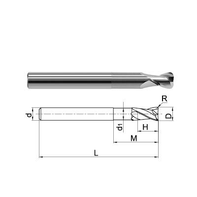 ZCC-CT 2 Flute Long Length Corner Radius End Mill Technical Drawing..