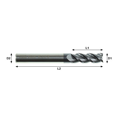 STARKE Eco-Mill E453 Series 3 Flute Coated Solid Carbide End Mill Technical Drawing..
