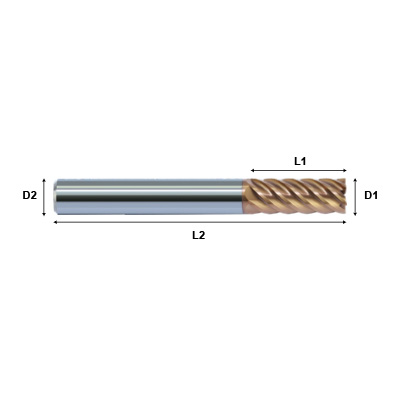 ZCC-CT HM-6E Series 6 Flute End Mill with Straight Shank for Hardened Steel Machining Technical Drawing.