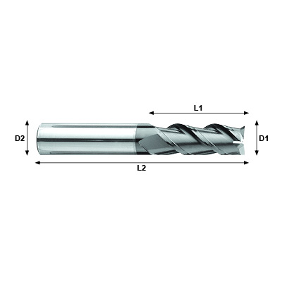 NANO-MILL Max-Mill JEF Series Coated Carbide 3 Flute Square End Mill Technical Drawing.