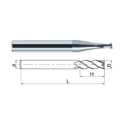 ZCC-CT NM-2EP 2 Flute CrN Coated Aluminium Rib Processing Micro End Mill Technical Drawing.