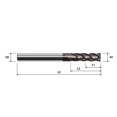 ZCC-CT UM-4EL Series 4 Flute Long Length AlCrN Coated High Performance Variable Helix Solid Carbide End Mill Technical Drawing.