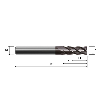 ZCC-CT UM-4R Series 4 Flute Corner Radius AlCrN Coated High Performance Variable Helix Solid Carbide End Mill Technical Drawing.