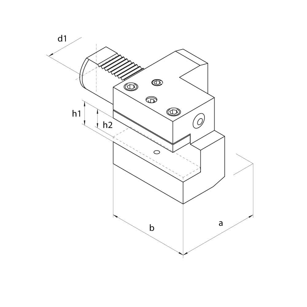 VDI C2 Axial Holders, Left Hand Technical Drawing.