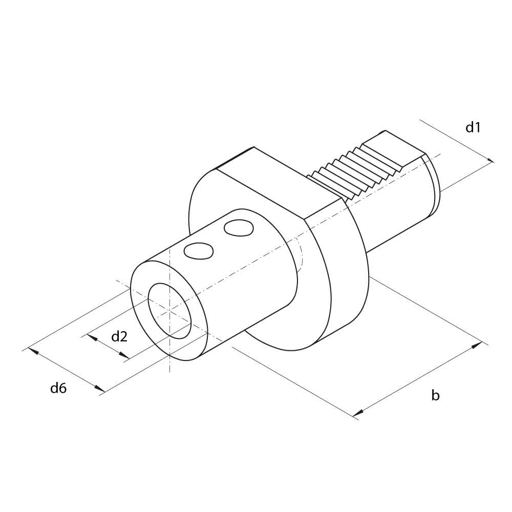 VDI E1 Indexable Drill Holders Technical Drawing.
