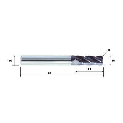 ZCC-CT VSM-4R 4 Flute Corner Radius AlTiN Coated High Performance Variable Helix Solid Carbide End Mill Technical Drawing..