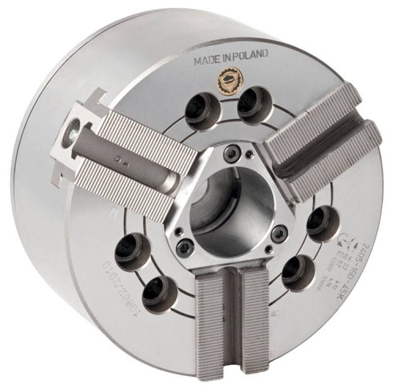 Bison 2405 3-Jaw Power Chuck with Through Hole - 90 Degree Serration - DIN 6353.