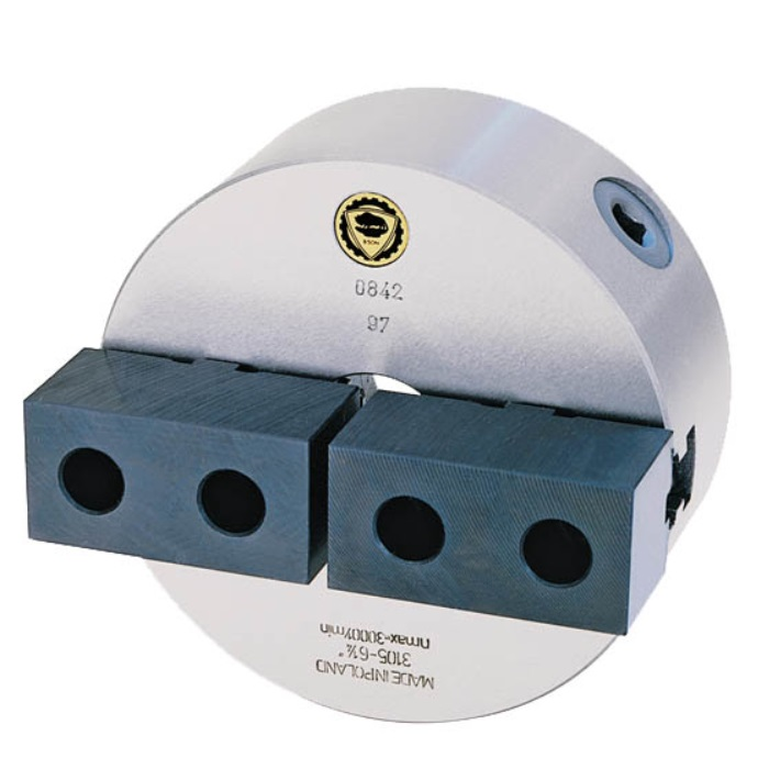 Bison 3105 2-Jaw Cast Iron Self-Centring Scroll Chuck with Plain Back Mounting - DIN 6350.