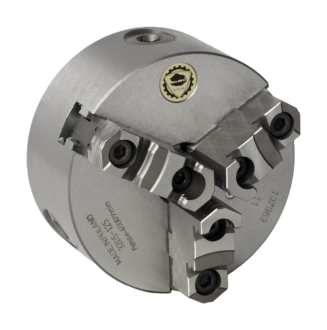 Bison 3205 3-Jaw Cast Iron Self-Centring Scroll Chuck with Plain Back Mounting - DIN 6350.