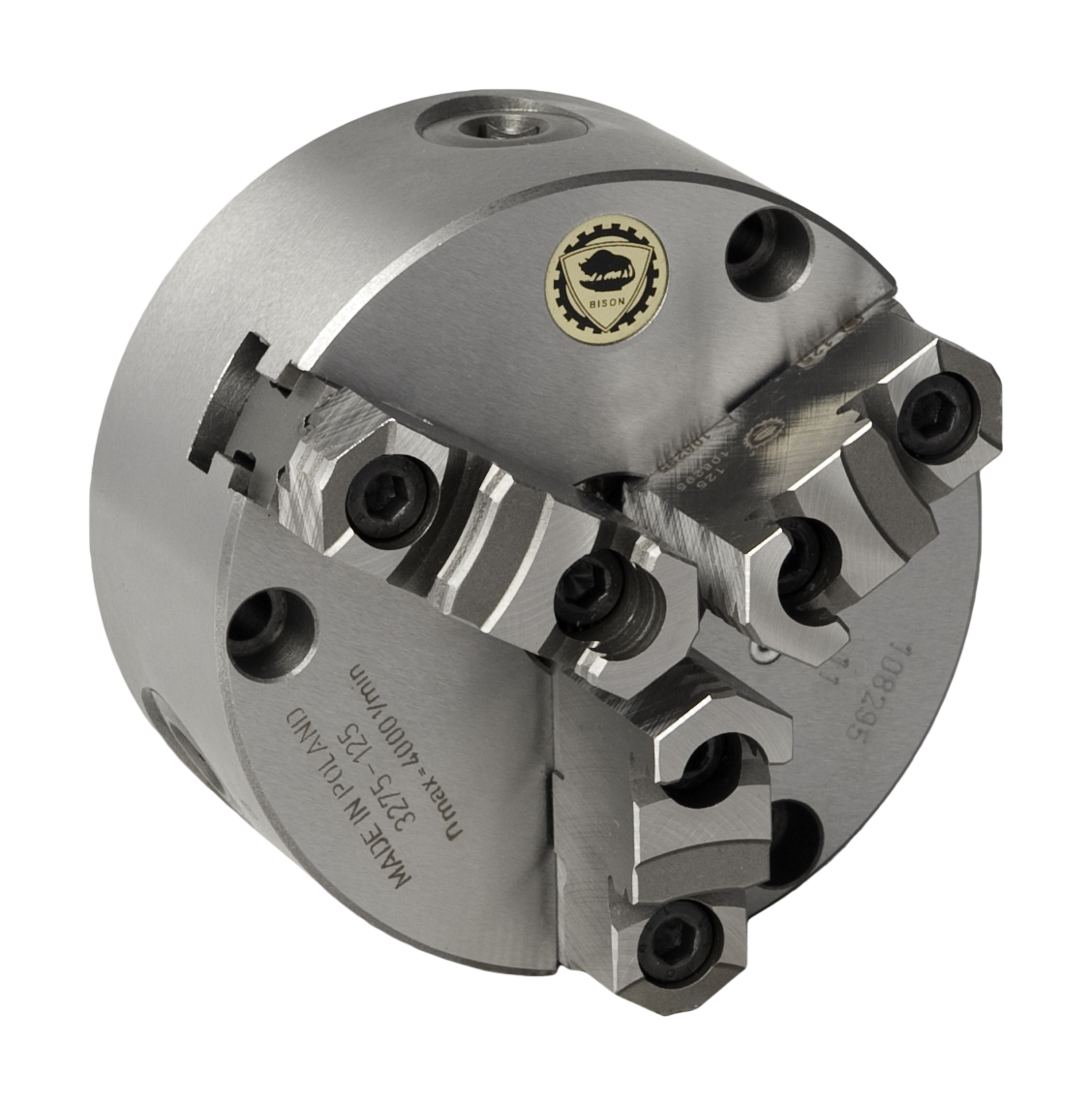 Bison 3275 3-Jaw Cast Iron Self-Centring Flexible (Front/Rear) Mounting Scroll Chuck.