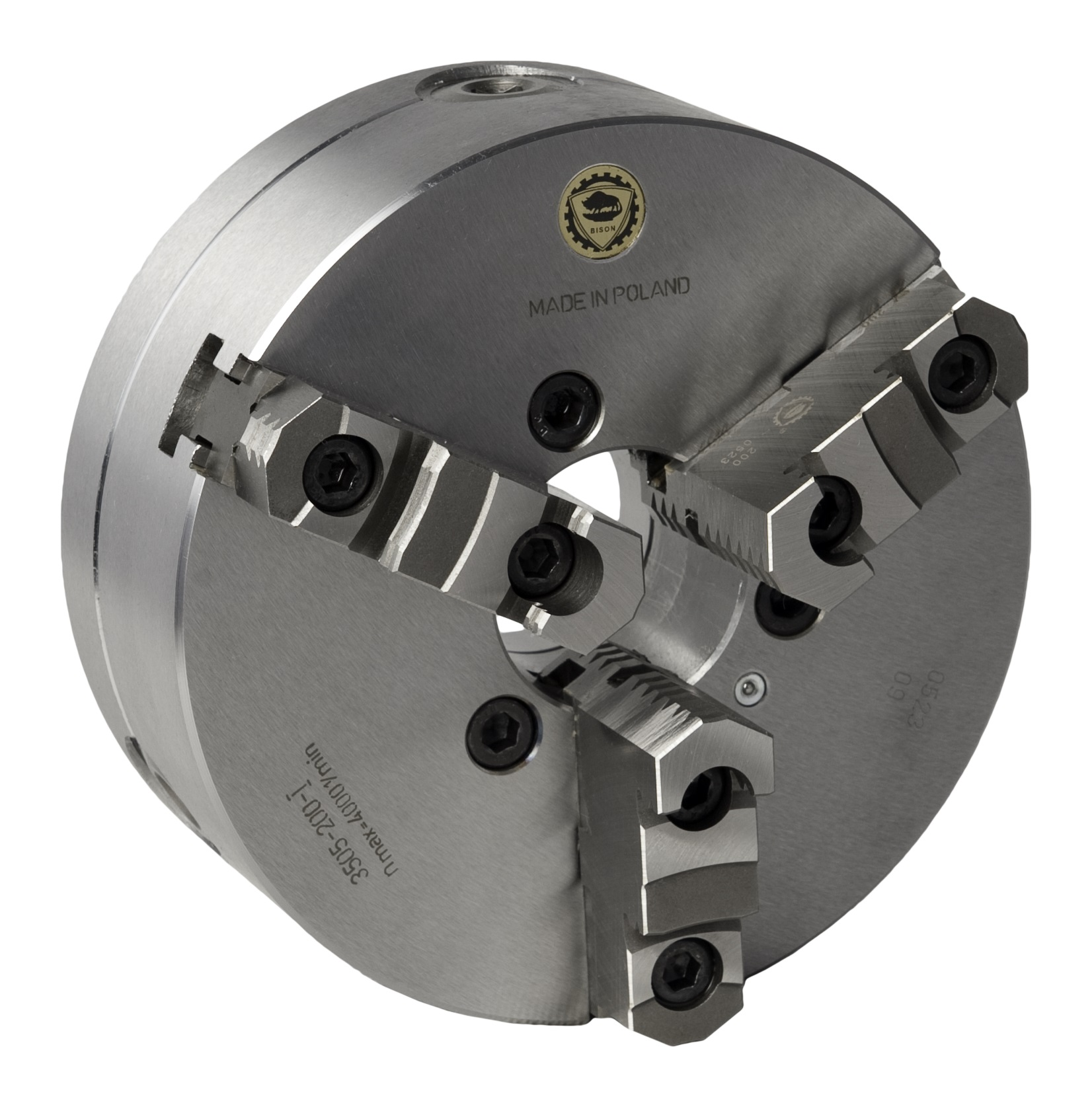 Bison 3505-P Premium 3-Jaw Steel Self-Centring Scroll Chuck with Plain Back Mounting - DIN 6350.