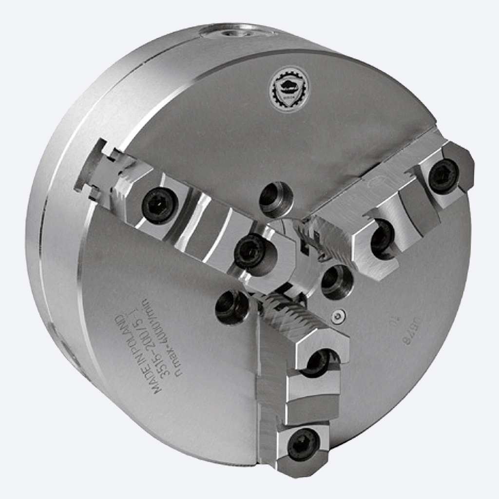 Bison 3515 Series 3-Jaw Steel Self-Centring Scroll Chuck with Type A Mounting - DIN 55026.