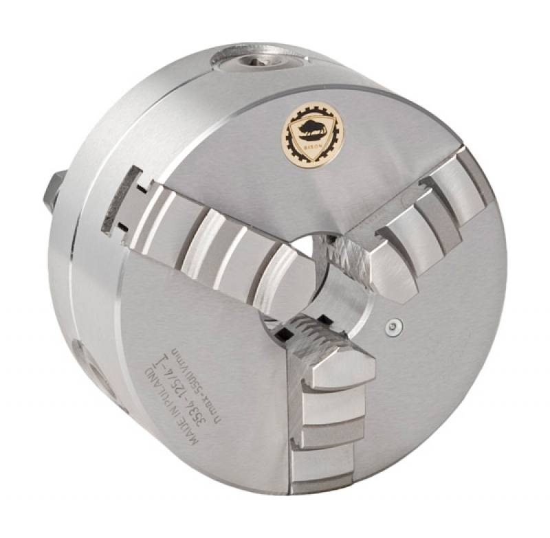 Bison 3534-P Premium 3-Jaw Steel Self-Centring Scroll Chuck with Bayonet (Type C) Mounting - DIN 55027.