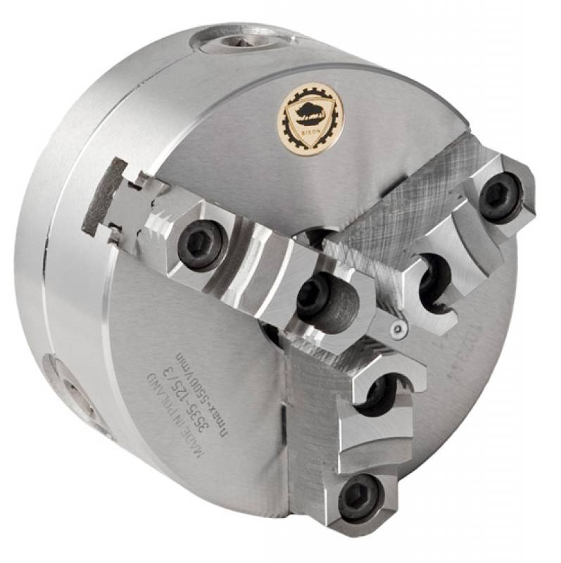 Bison 3535-P Premium 3-Jaw Steel Self-Centring Scroll Chuck with Bayonet (Type C) Mounting - DIN 55027.