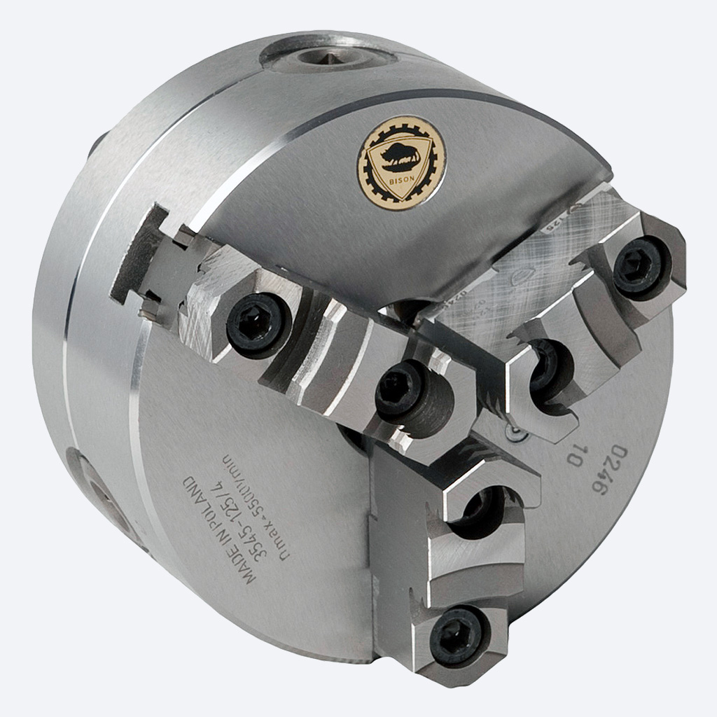 Bison 3545 3-Jaw Steel Self-Centring Scroll Chuck with Camlock (Type D) Mounting - DIN 55029.