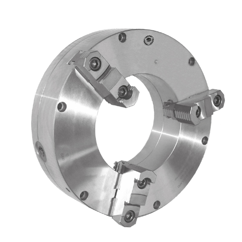 Bison 3597 3-Jaw Steel Self-Centring Oil Country Scroll Chuck with Plain Back Mounting - DIN 6350.
