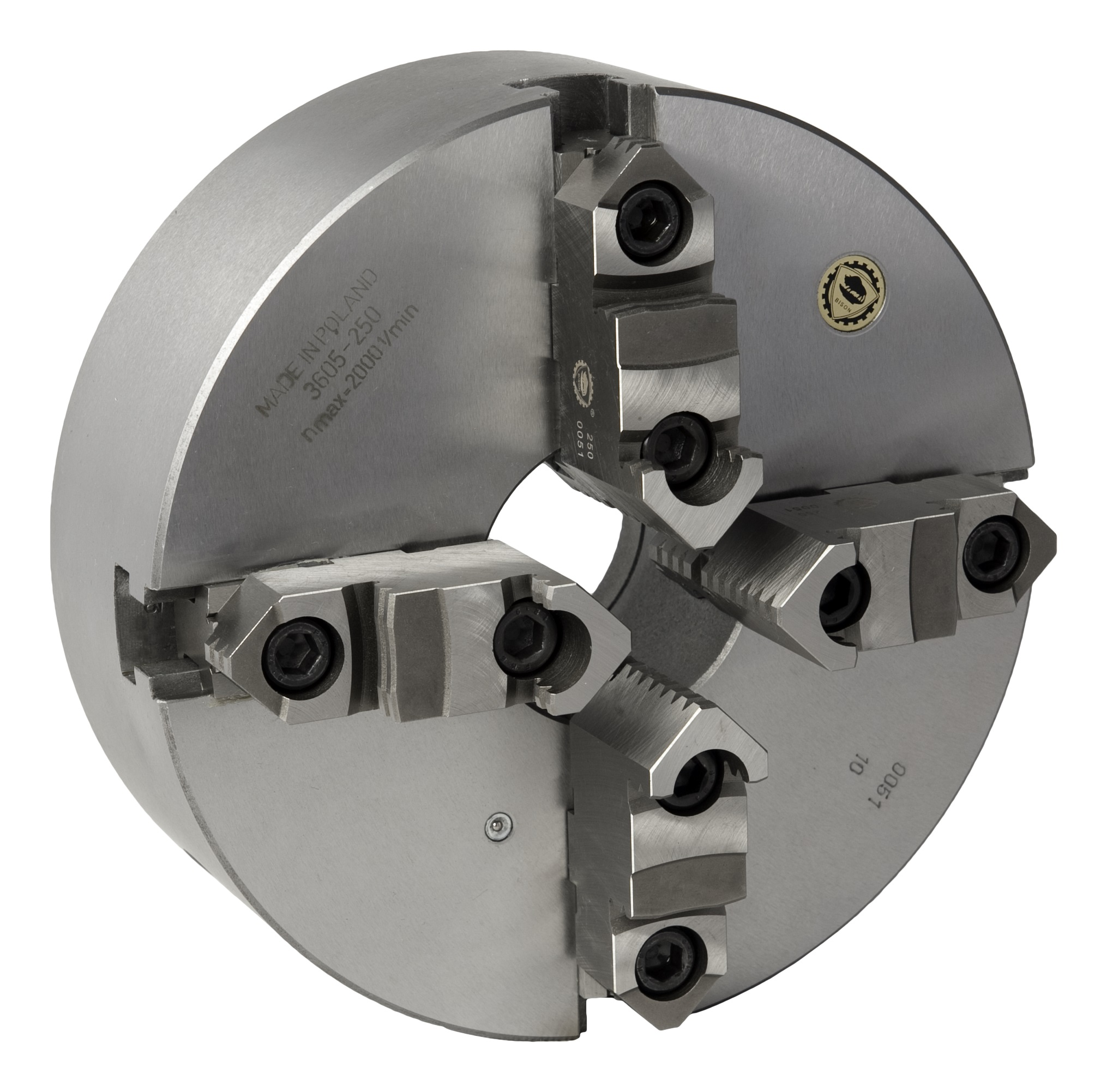 Bison 3605 4-Jaw Cast Iron Self-Centring Scroll Chuck with Plain Back Mounting - DIN 6350.