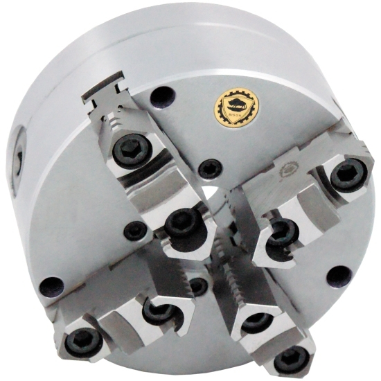 Bison 3675 4-Jaw Cast Iron Self-Centring Scroll Chuck with Flexible (Front/Rear) Mounting - DIN 55029.