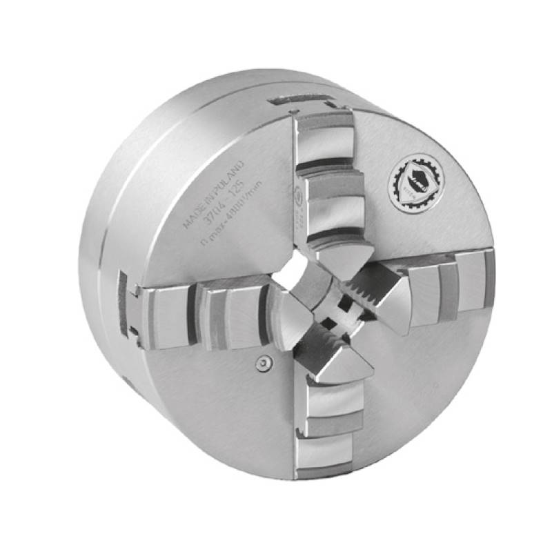 Bison 3704 4-Jaw Steel Self-Centring Scroll Chuck with Plain Back Mounting - DIN 6350.