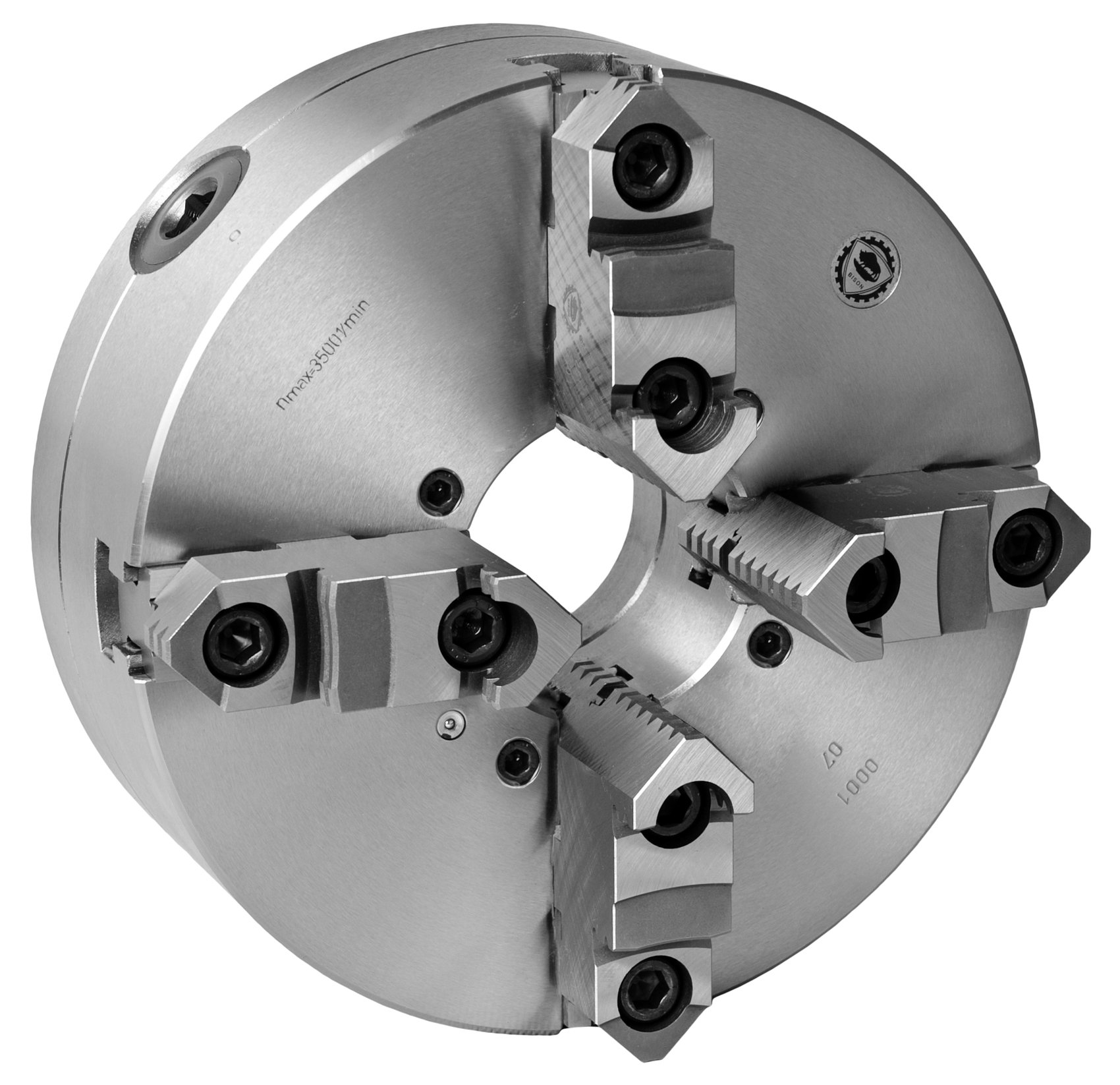 Bison 3705 4-Jaw Steel Self-Centring Scroll Chuck with Plain Back Mounting - DIN 6350.
