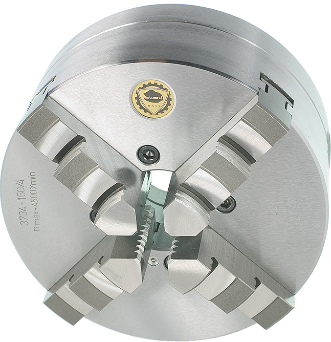 Bison 3734 4-Jaw Steel Self-Centring Scroll Chuck with Bayonet (Type C) Mounting - DIN 55027.