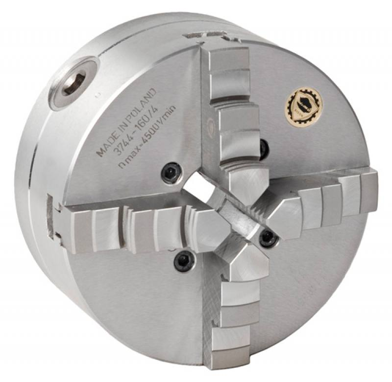 Bison 3744 4-Jaw Steel Self-Centring Scroll Chuck with Camlock (Type D) Mounting - DIN 55029.