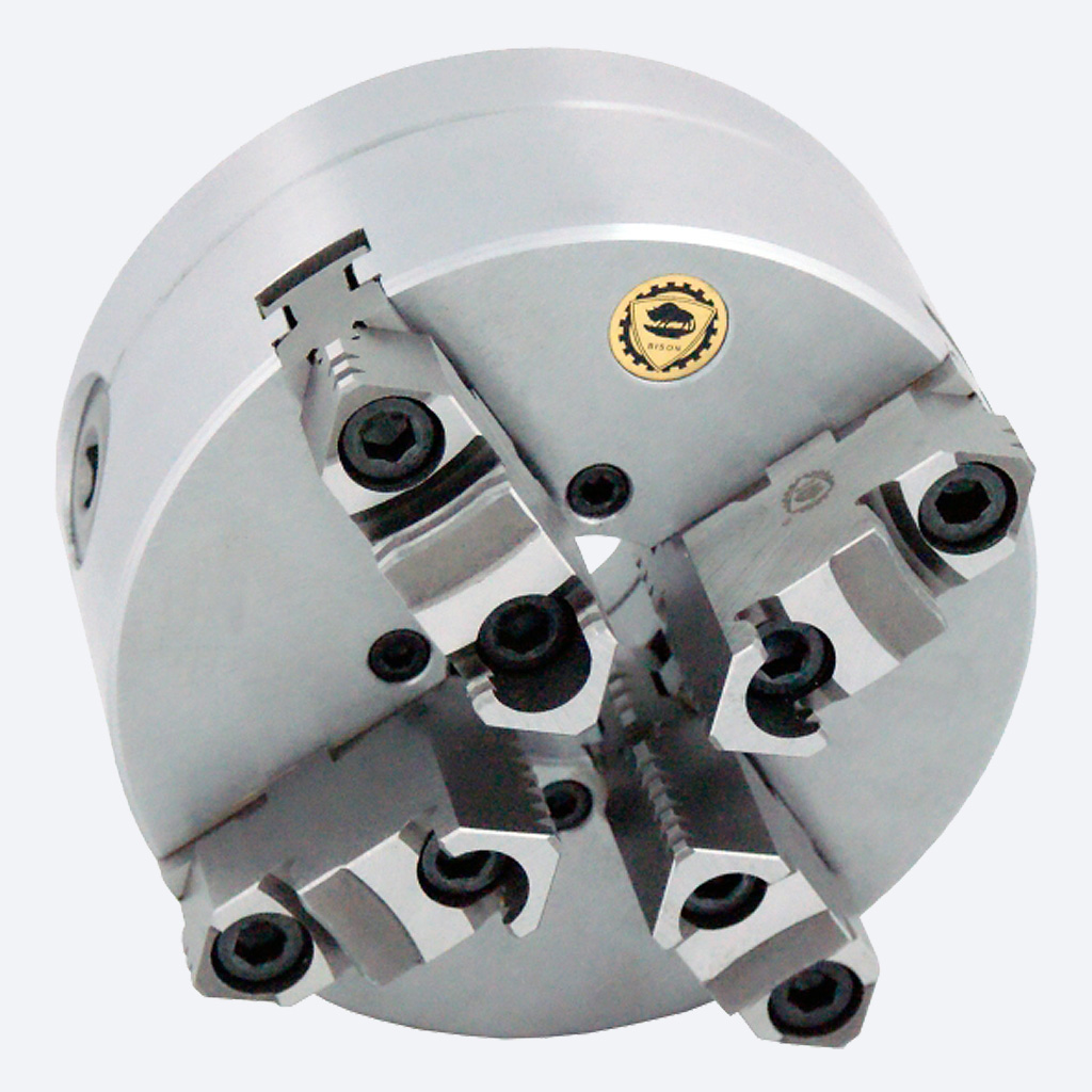 Bison 3745 4-Jaw Steel Self-Centring Scroll Chuck with Camlock (Type D) Mounting - DIN 55029.