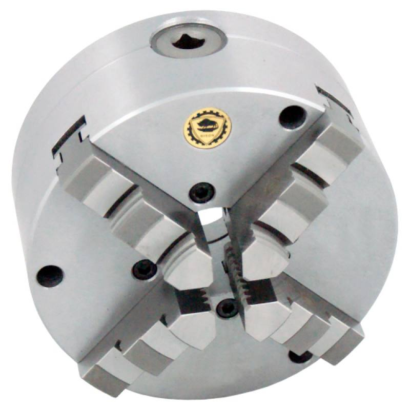 Bison 3774 4-Jaw Steel Self-Centring Scroll Chuck with Flexible (Front/Rear) Mounting - DIN 55029.