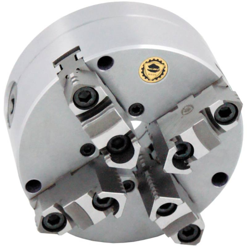 Bison 3775 4-Jaw Steel Self-Centring Scroll Chuck with Flexible (Front/Rear) Mounting - DIN 55029.