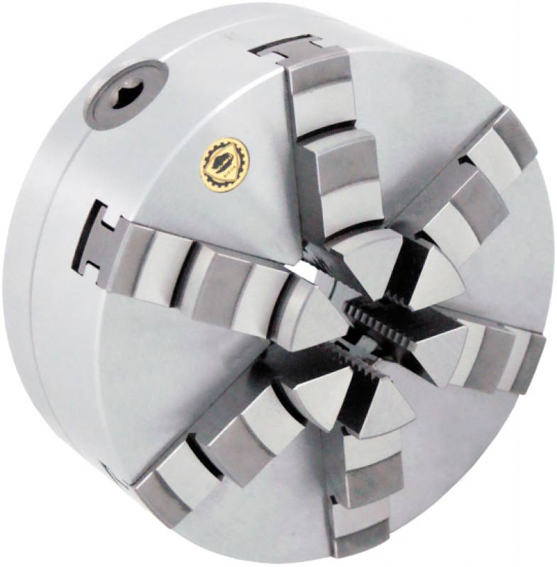 Bison 3806 6-Jaw Steel Self-Centring Scroll Chuck with Plain Back Mounting - DIN 6350.