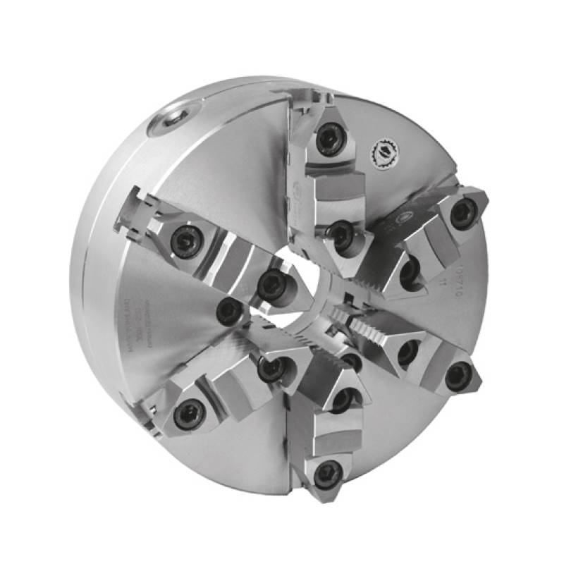 Bison 3807 6-Jaw Steel Self-Centring Scroll Chuck with Plain Back Mounting - DIN 6350.