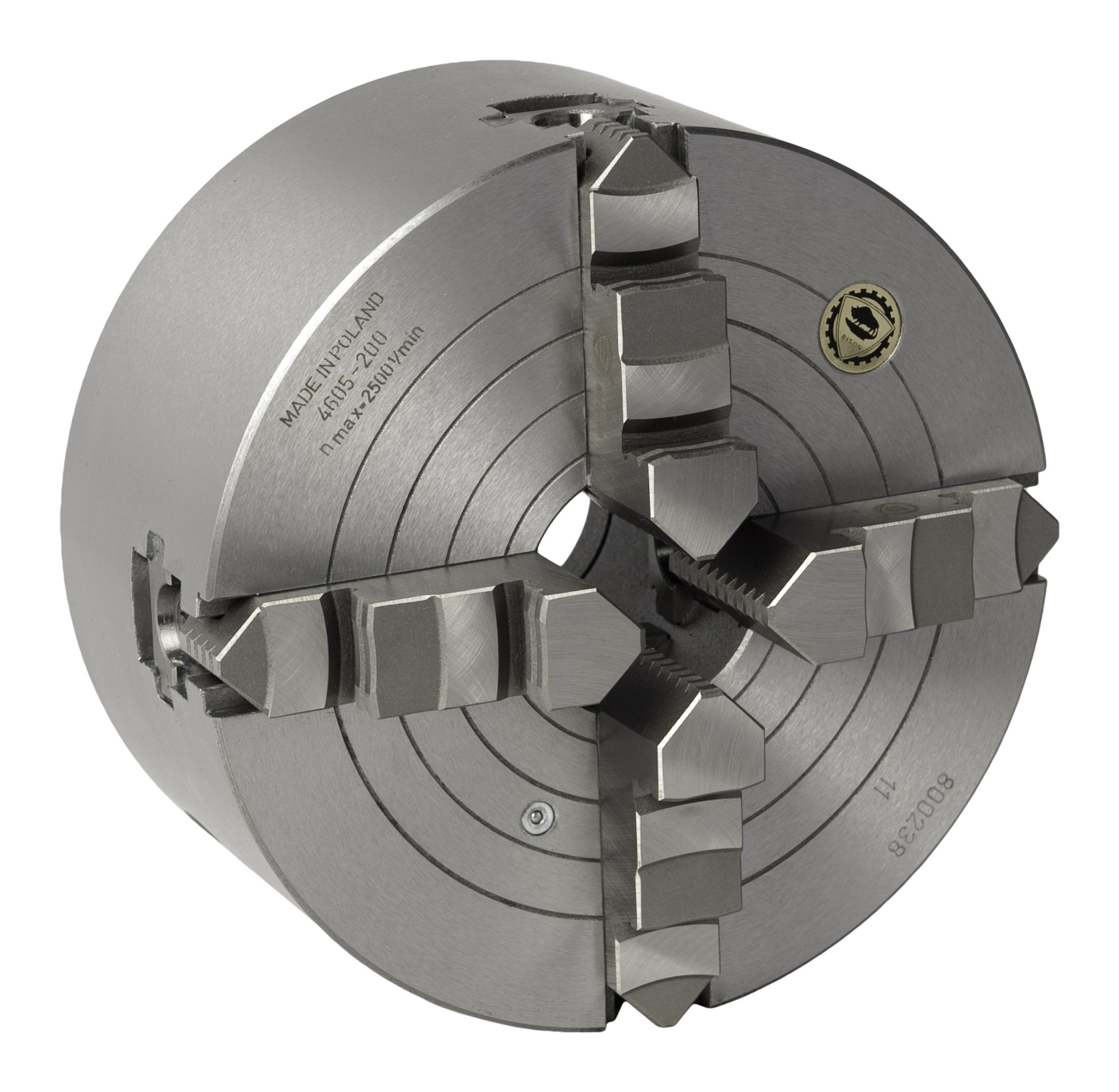 Bison 4605 4-Jaw Cast Iron Combined Self-Centring & Independent (Wescott) Scroll Chuck with Plain Back Mounting - DIN 6351.