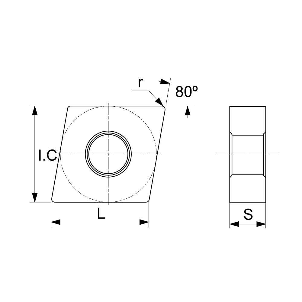 CNMA Negative Turning Insert (KA2000 Cast Iron Grade) Technical Drawing.