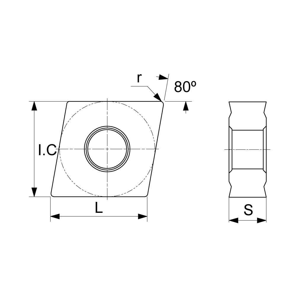 CNMG Negative Turning Insert with KM Medium Chipbreaker (KA9000 Universal Grade) Technical Drawing.
