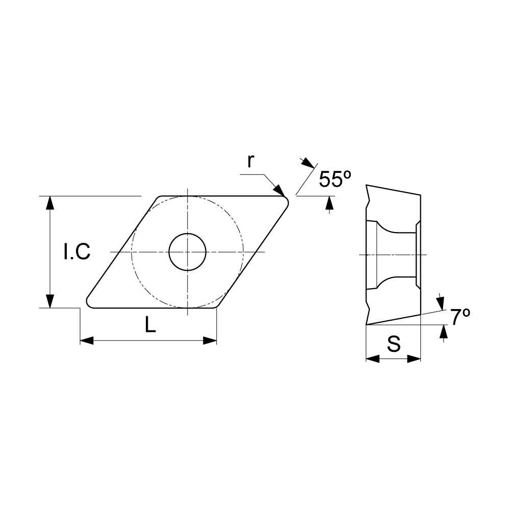 DCMT Positive Turning Insert with KF Finishing Chipbreaker (KA9000 Universal Grade) Technical Drawing.