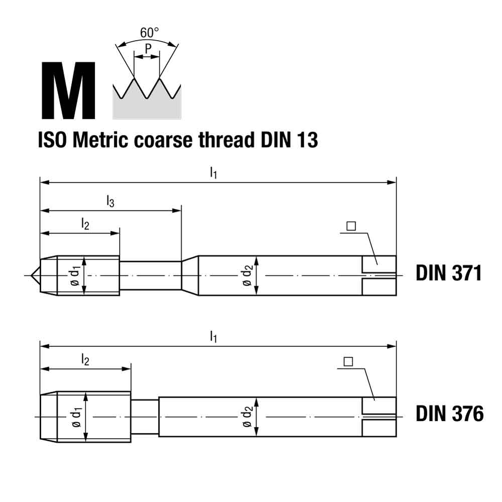 Emuge Metric Coarse Spiral Point Multi Cold Forming Tap GLT-1 Coated Technical Drawing.