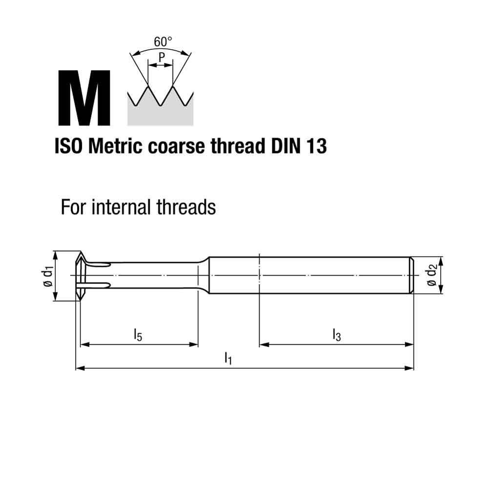 Emuge Metric Coarse Thread Multi Circular Thread Milling Cutter Weldon Shank Technical Drawing.