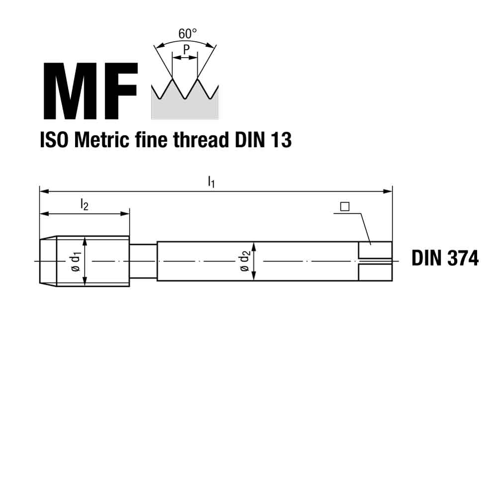 Emuge Metric Fine Spiral Flute Multi Tap NE2 Coated Technical Drawing.