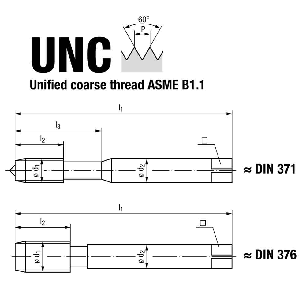 Emuge Unified Coarse Thread Spiral Flute Multi Tap GLT-1 Coated Technical Drawing.
