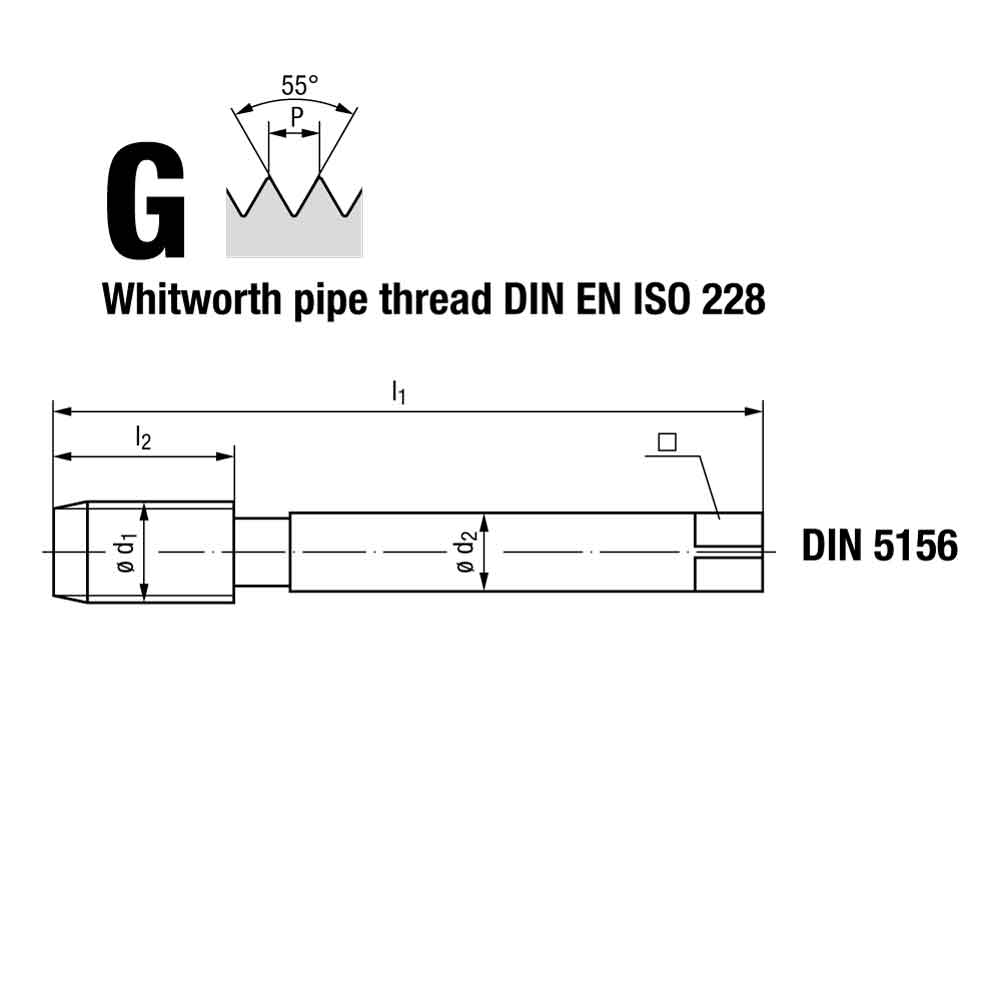 Emuge Whitworth Spiral Point Multi Tap GLT-1 Coated Stainless Steel Technical Drawing.