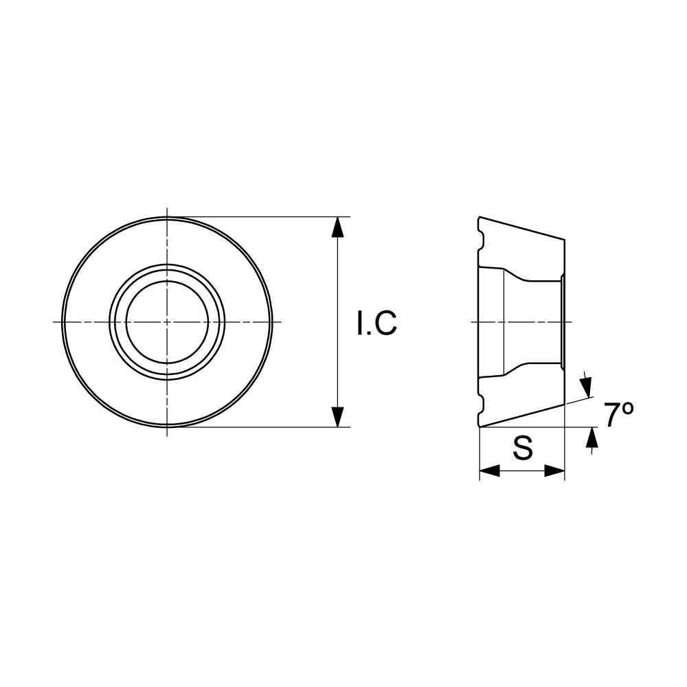 RCMT Positive Turning Insert (KA9000 Universal Grade) Technical Drawing.