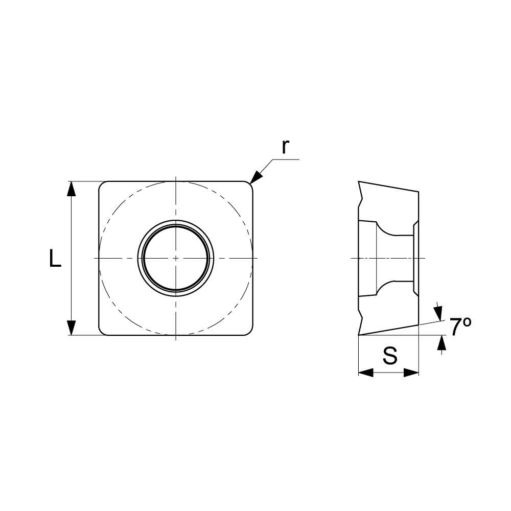 SCMT Positive Turning Insert with KM Medium Chipbreaker (KA9000 Universal Grade) Technical Drawing.